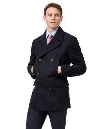 Navy wool cashmere pea coat