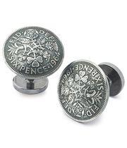 Boutons de manchette argent antique avec pièces de six pence bombées
