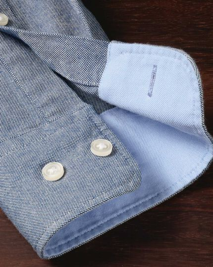 Slim fit button-down washed Oxford plain denim blue shirt