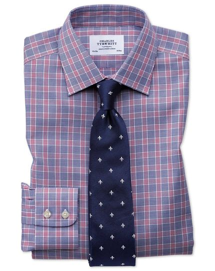 Slim fit non-iron Prince of Wales berry and navy blue shirt