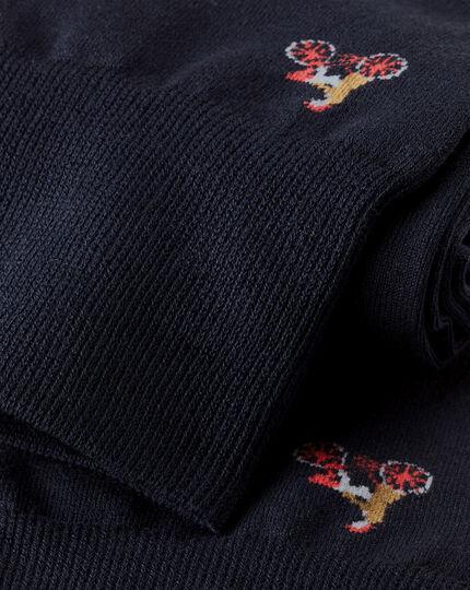 Jacquard Bicycle Socks - Navy