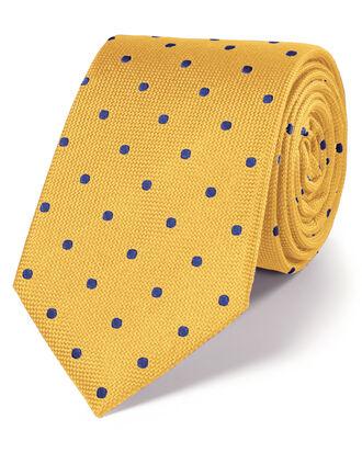 Cravate classique bleue et or à pois en soie
