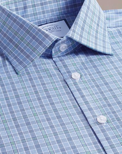 Classic fit blue and green Prince of Wales check shirt