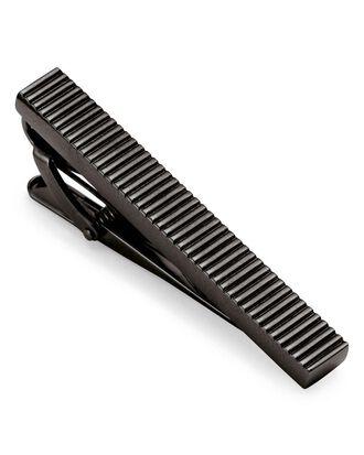 Krawattenclip in Schwarz mit Rillen