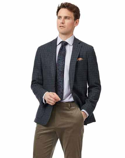 Slim fit grey and teal check Italian wool cashmere jacket