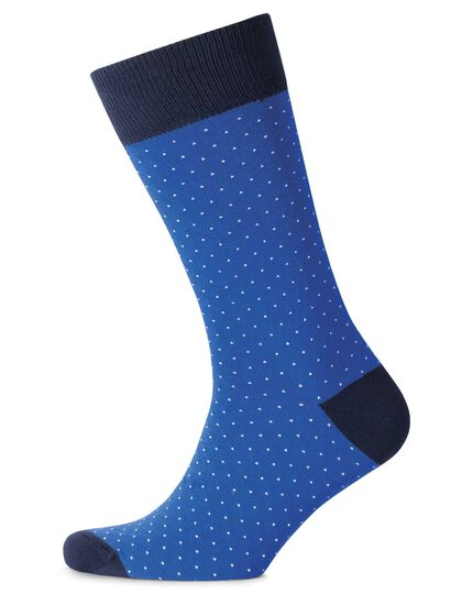 Blue and white micro dash socks