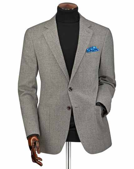 Classic fit light grey wool flannel jacket