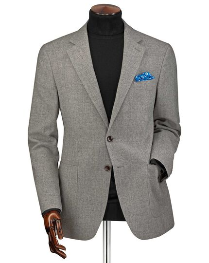 Classic fit light grey wool flannel jacket