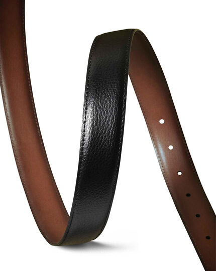 Black and tan leather reversible belt