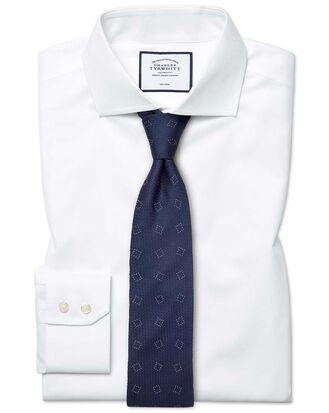Classic fit white non-iron poplin spread collar shirt