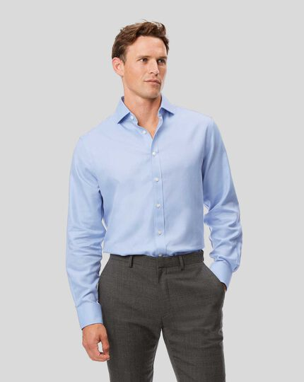 Spread Collar Non-Iron Herringbone Shirt  - Sky