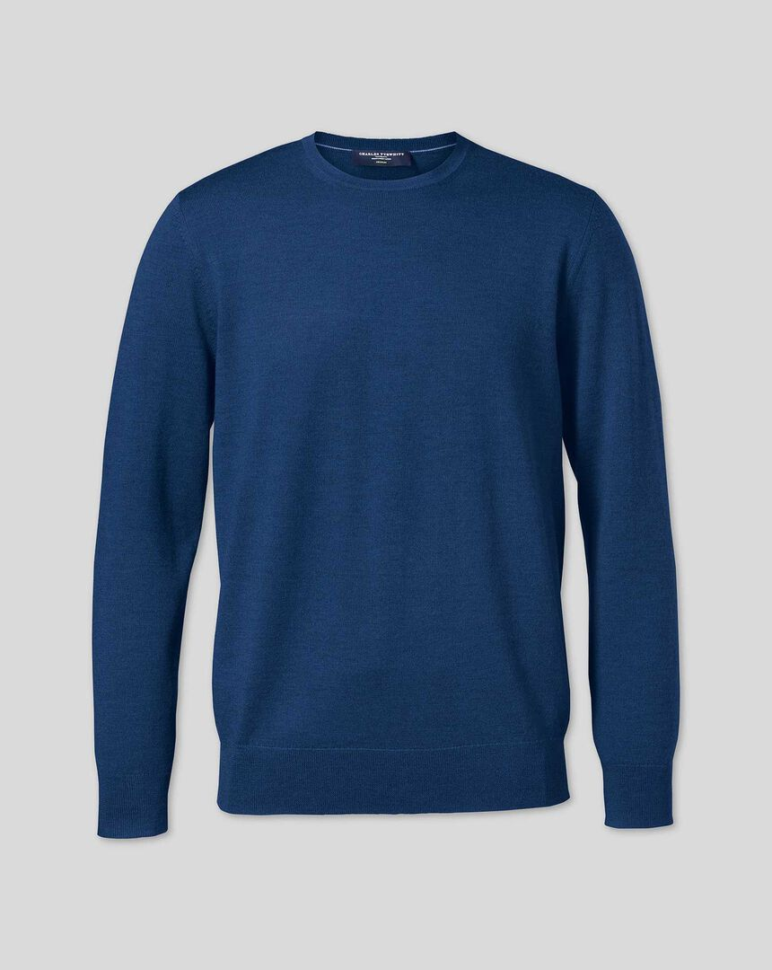 Merino Crew Neck Sweater - Royal Blue