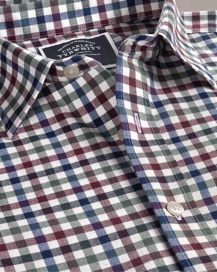 Gebürstetes Classic Fit Hemd mit Gingham-Karos in Braun und Bunt