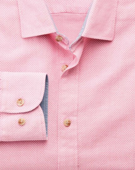 Classic fit washed textured pink shirt