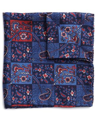 Blue and red wool silk square printed Italian pocket square