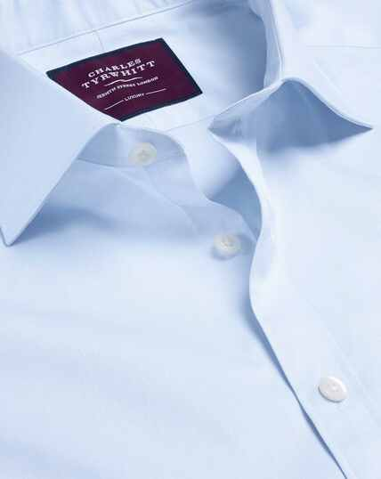 Semi-Spread Collar Luxury Twill Shirt  - Sky