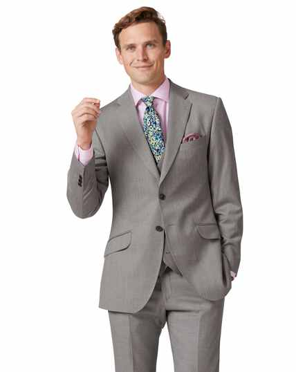 Silver slim fit Italian suit jacket