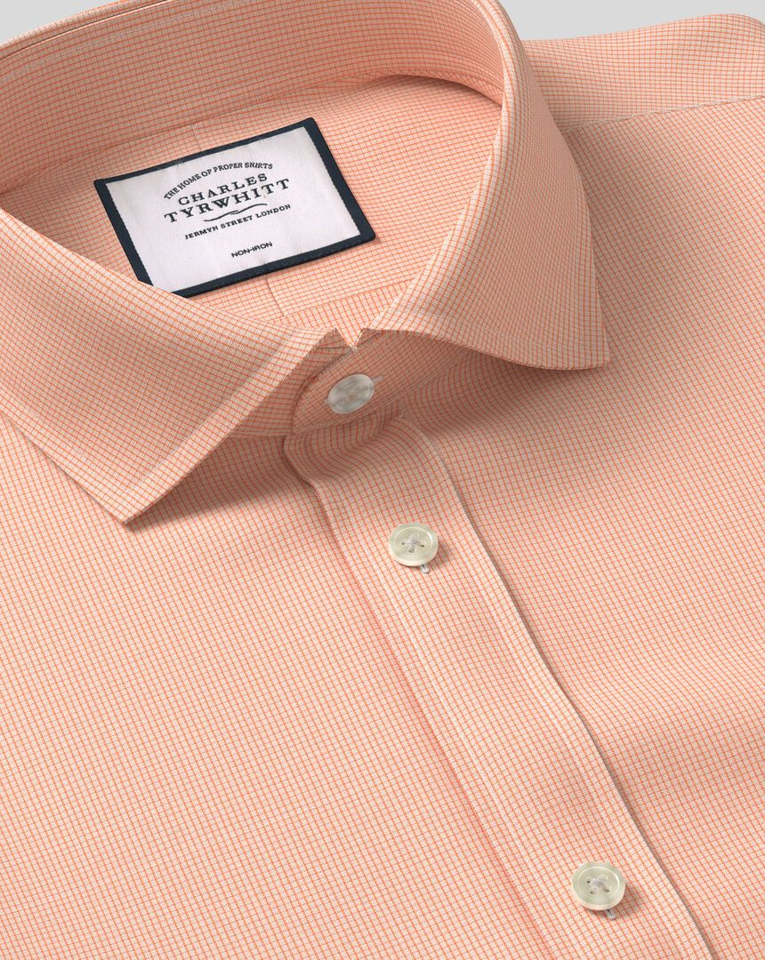Cutaway Collar Non-Iron 4 Way Stretch Check Shirt - Orange