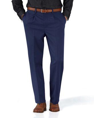 Pantalon chino bleu marine coupe droite à pinces simples sans repassage