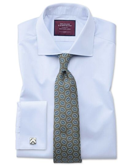 Olive silk medallion print English 7-fold luxury tie