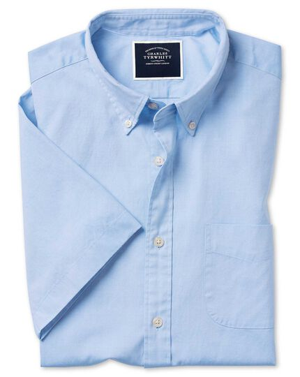 Slim fit short sleeve button-down washed Oxford sky blue shirt