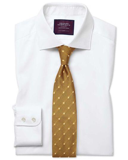 Slim fit semi-cutaway luxury twill white shirt