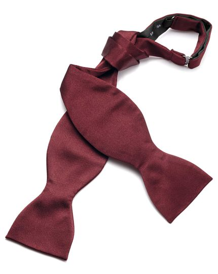 Wine silk satin royal self-tie bow tie