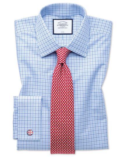 Chemise bleue et bleu ciel en popeline coupe droite sans repassage