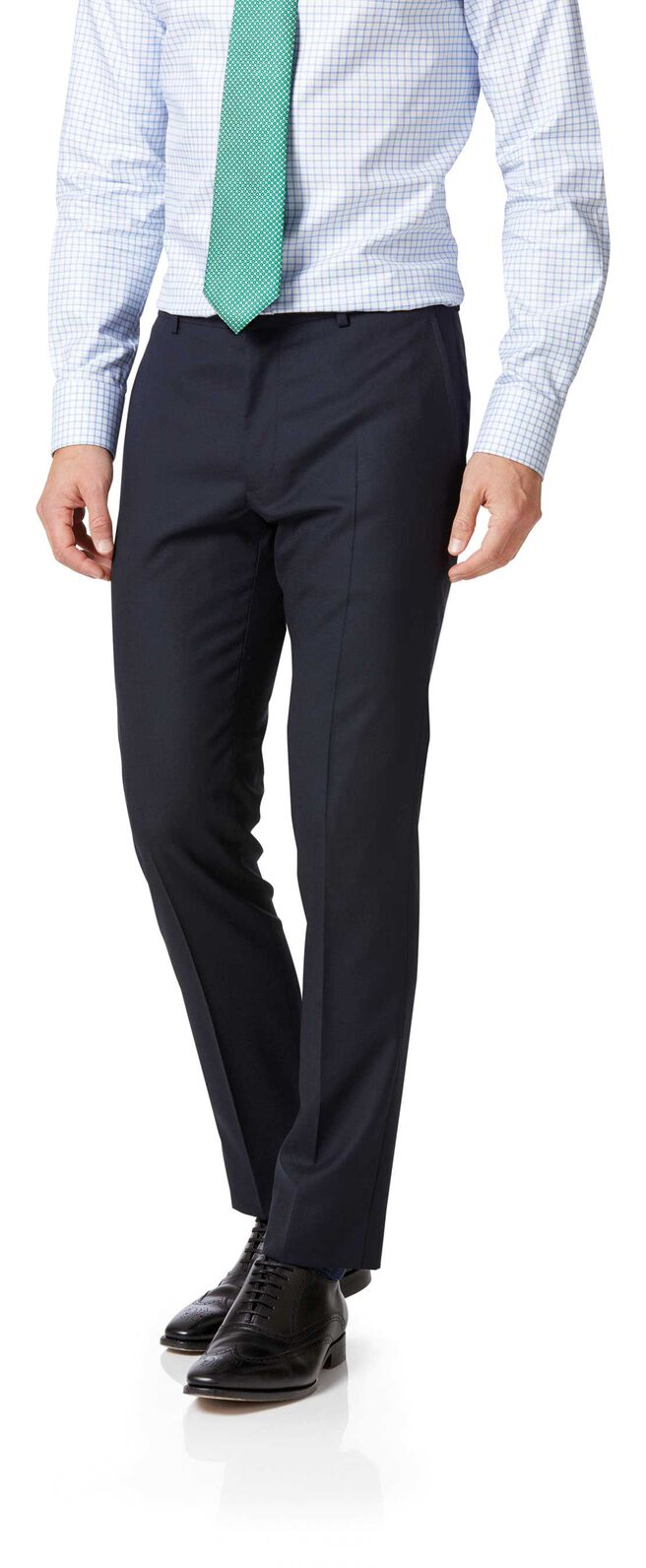 Midnight blue double breasted extra slim fit merino business suit