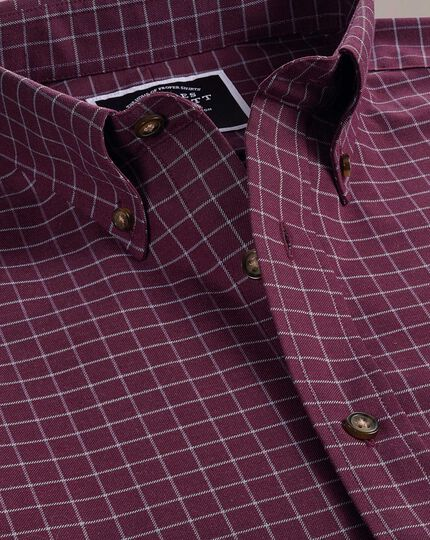 Classic fit non-iron berry check twill shirt