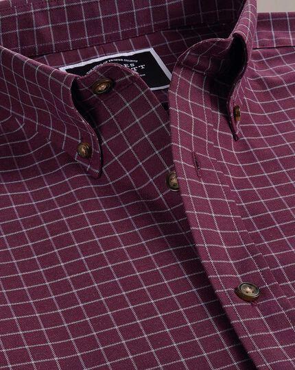 Slim fit non-iron berry check twill shirt