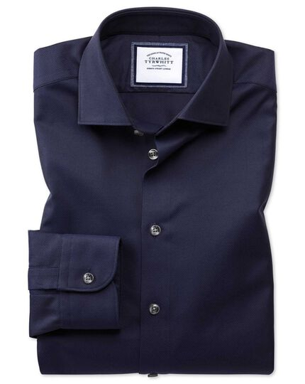 Extra slim fit semi-cutaway business casual navy textured shirt