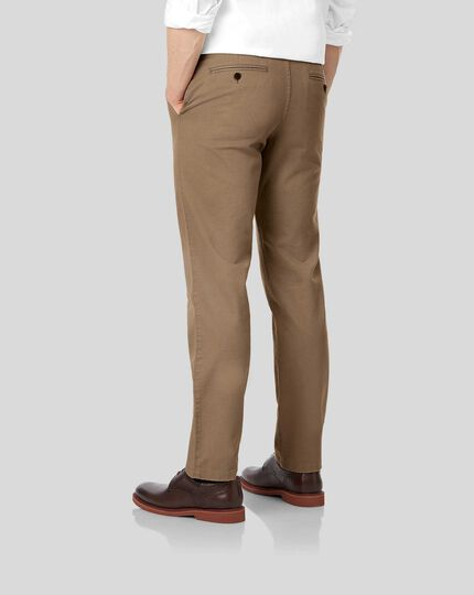 Flat Front Soft Washed Chinos  - Camel