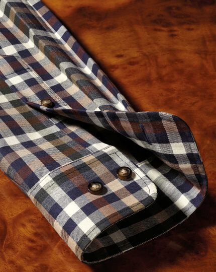 Chemise marron à carreaux multicolores en twill slim fit sans repassage