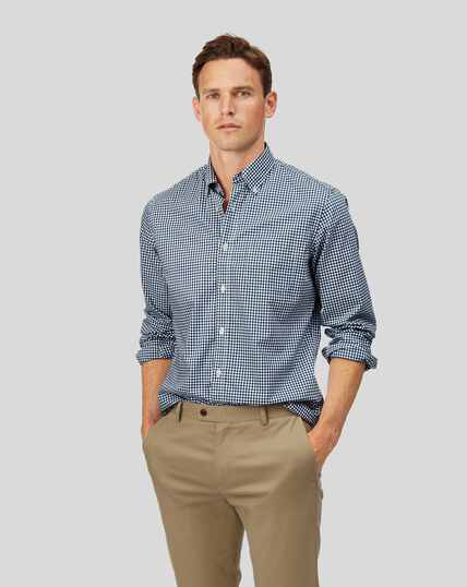 Button-Down Collar Soft Washed Stretch Poplin Check Shirt - Navy