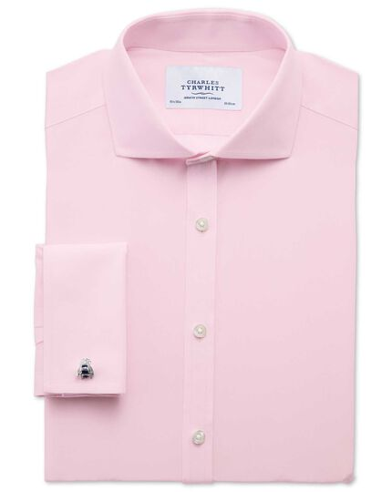 Extra slim fit cutaway collar non-iron poplin light pink shirt