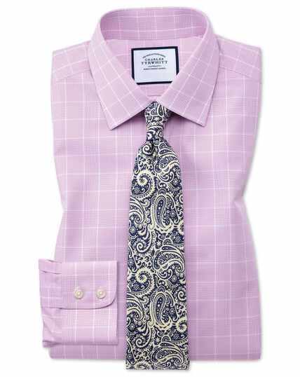 Classic fit non-iron Prince of Wales pink shirt