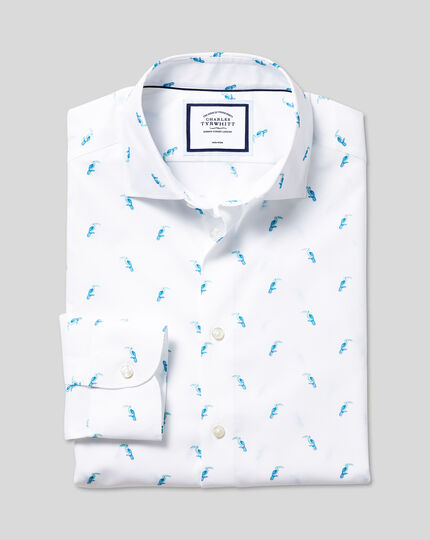Business Casual Collar Toucan Printed Shirt - Teal