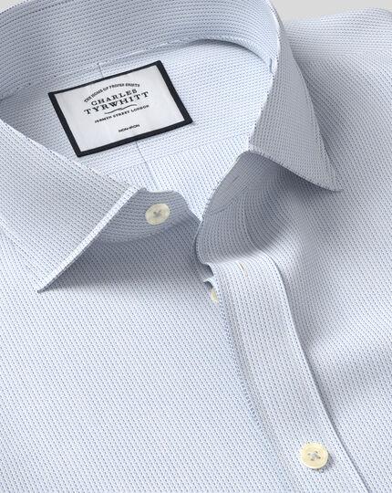 Cutaway Collar Non-Iron Cotton Stretch Oxford Stripe Shirt - Sky