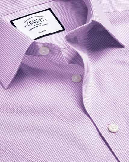 Bügelfreies Hemd mit Hahnentrittmuster - Lila