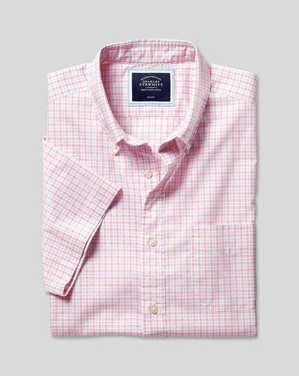 Bügelfreies Popeline-Kurzarmhemd aus Stretchgewebe mit Button-down-Kragen und Karos- Korallenrot & Blau