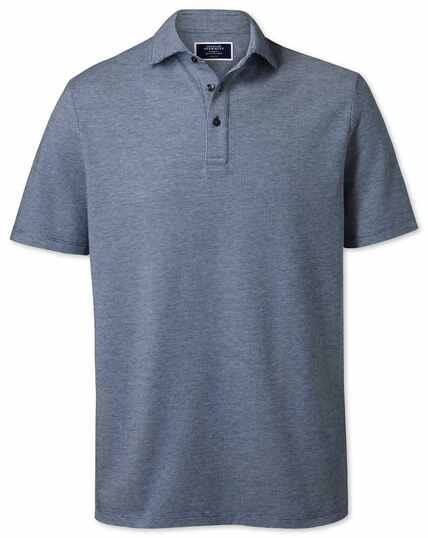 Blue and white textured polo