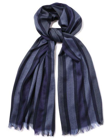 Navy multi stripe lightweight merino scarf