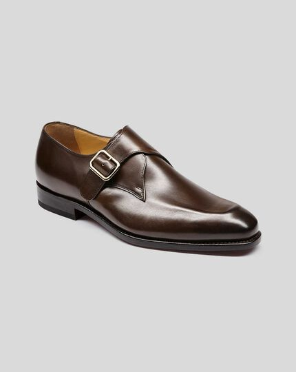 Goodyear Welted Monk Shoes - Chocolate