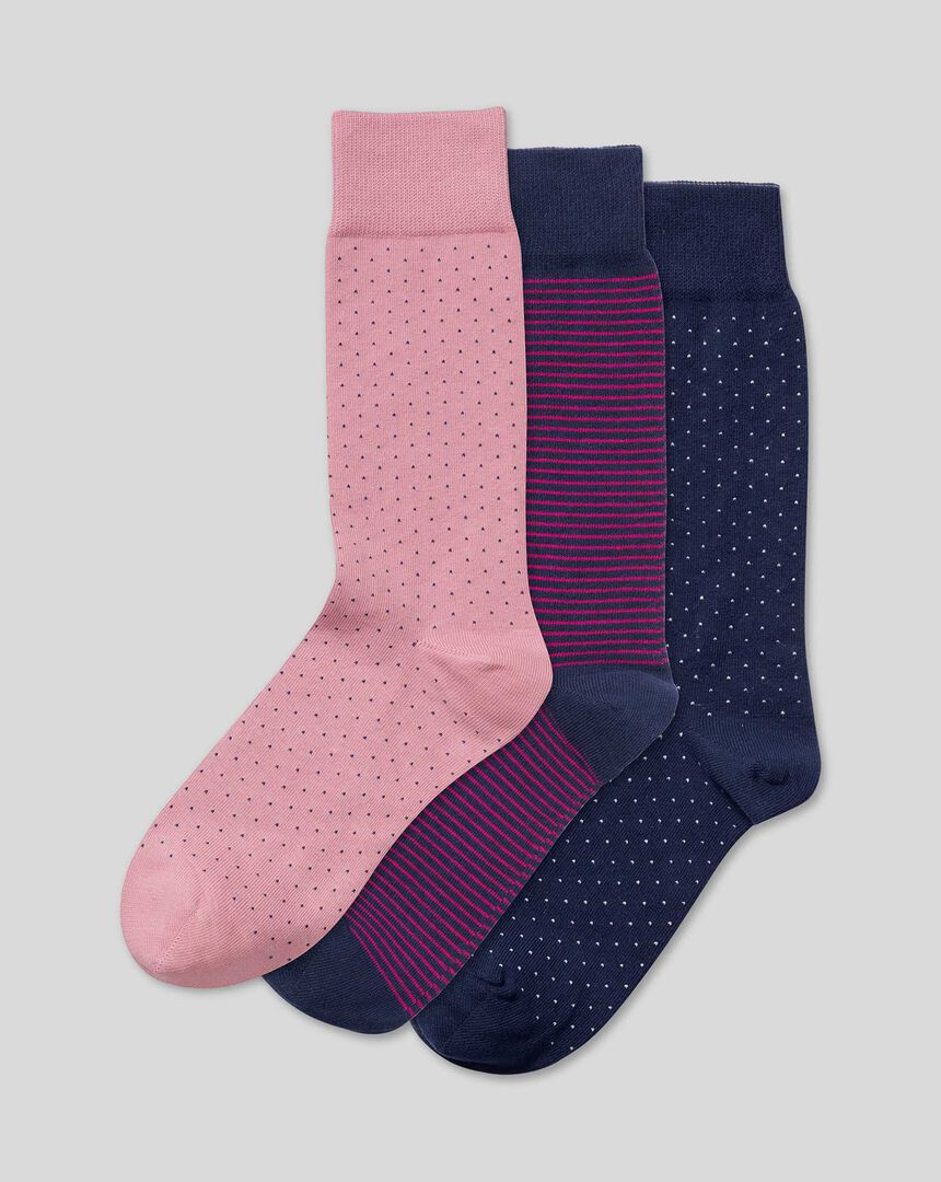 3er-Pack Socken mit Streifen- und Strichmuster - Marineblau & Rosa