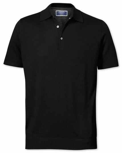 Kurzärmeliger Pullover aus Merinowolle mit Polokragen in Schwarz
