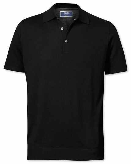 Black merino wool polo collar short sleeve jumper