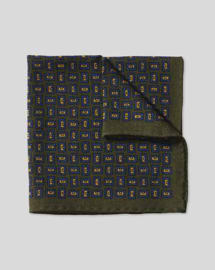 Geometric Wool Pocket Square - Olive & Blue
