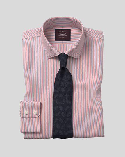 Hemd aus italienischem Dobby-Gewebe mit Semi-Haifischkragen und Streifen -  Rosa