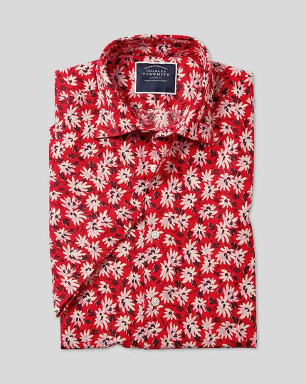 Classic Collar Short Sleeve Linen Cotton Floral Shirt - Red